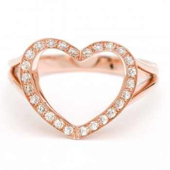 14K Rose gold champagne diamond open heart ring