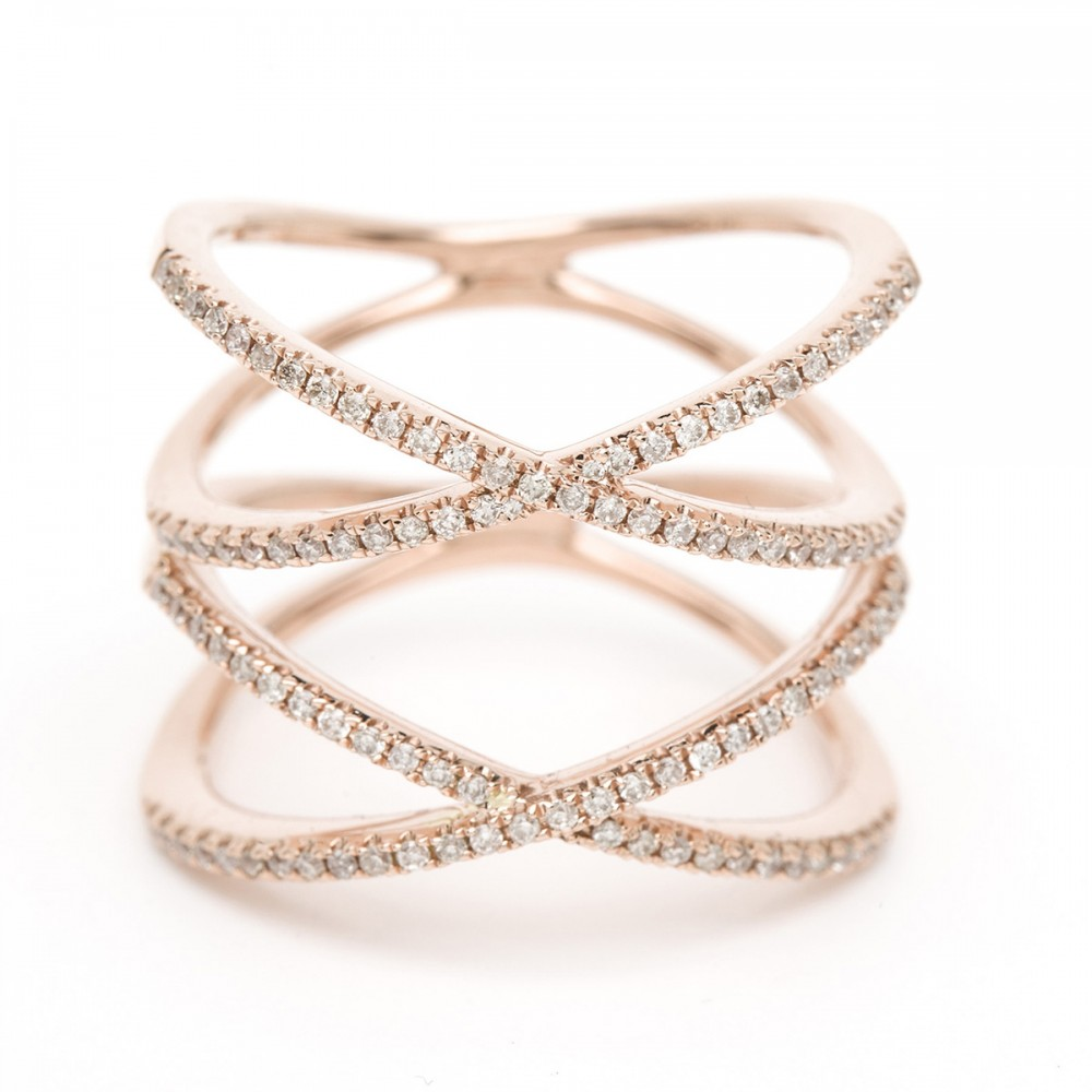 Double Cross Diamond Ring